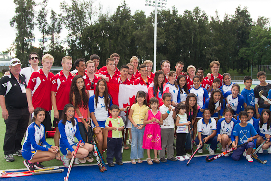 The Canadian team presented hockey equipment to local youth